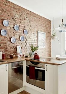 Кухня под кирпич или кирпичная стена на кухне, 50+ фото