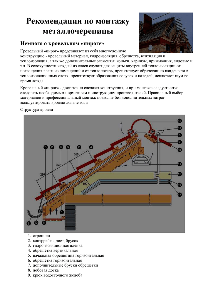 Монтаж металлочерепицы своими руками на кровлю: инструкция, технология