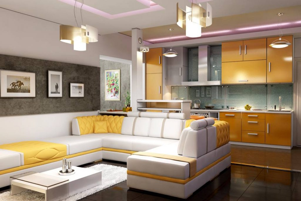 Маленькая кухня-гостиная (54 фото): дизайн в интерьере совмещенной студии небольшой площади