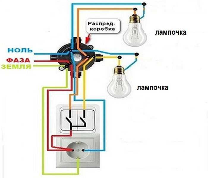 Подключение лампочки через выключатель