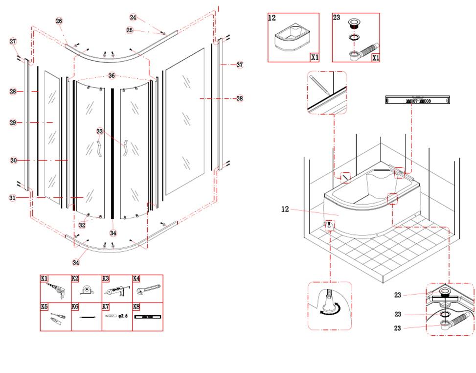 Душевой уголок — подробная инструкция по сборке с фото