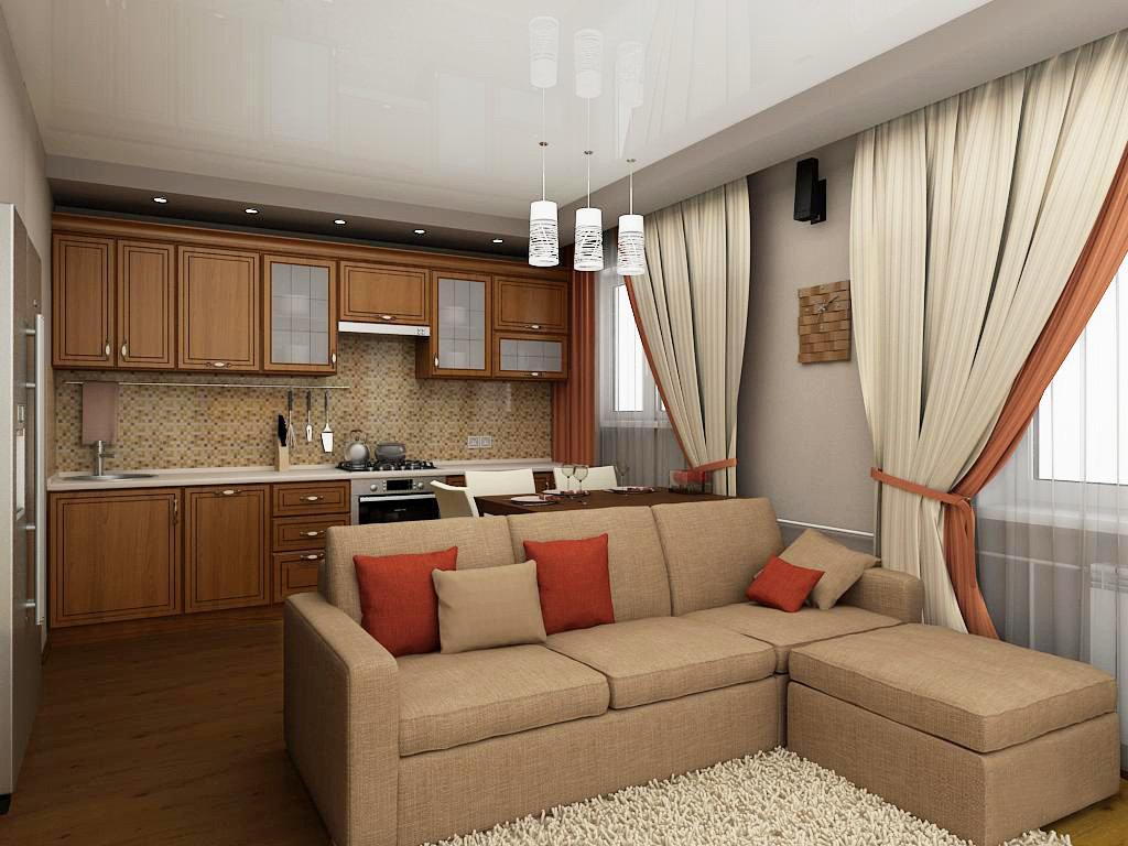 Варианты дизайна маленькой кухни-гостиной