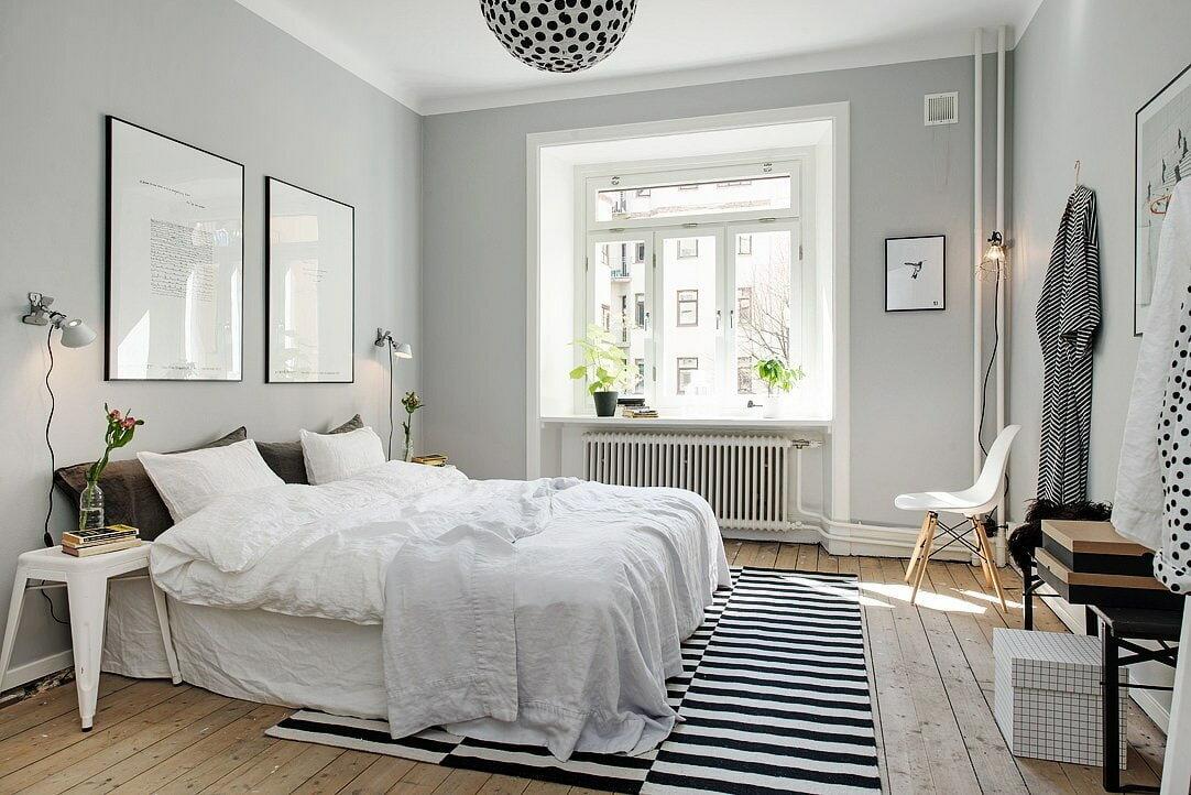 Спальня в скандинавском стиле в типовой квартире: идеи оформления интерьера