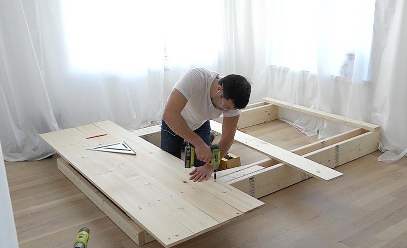 Как сделать кровать подиум с выдвижными ящиками