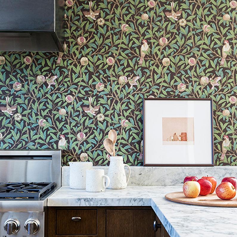 Обои для кухни: 145 фото-идей использования разных типов обоев