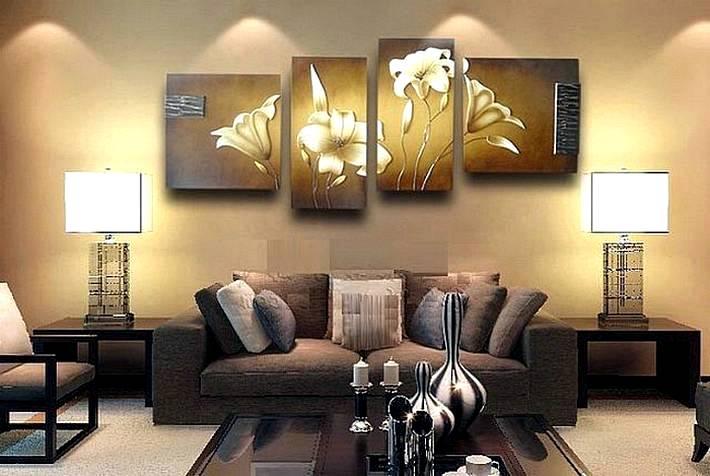 Картины в интерьере гостиной: выбор, тенденции и 75 фото примеров