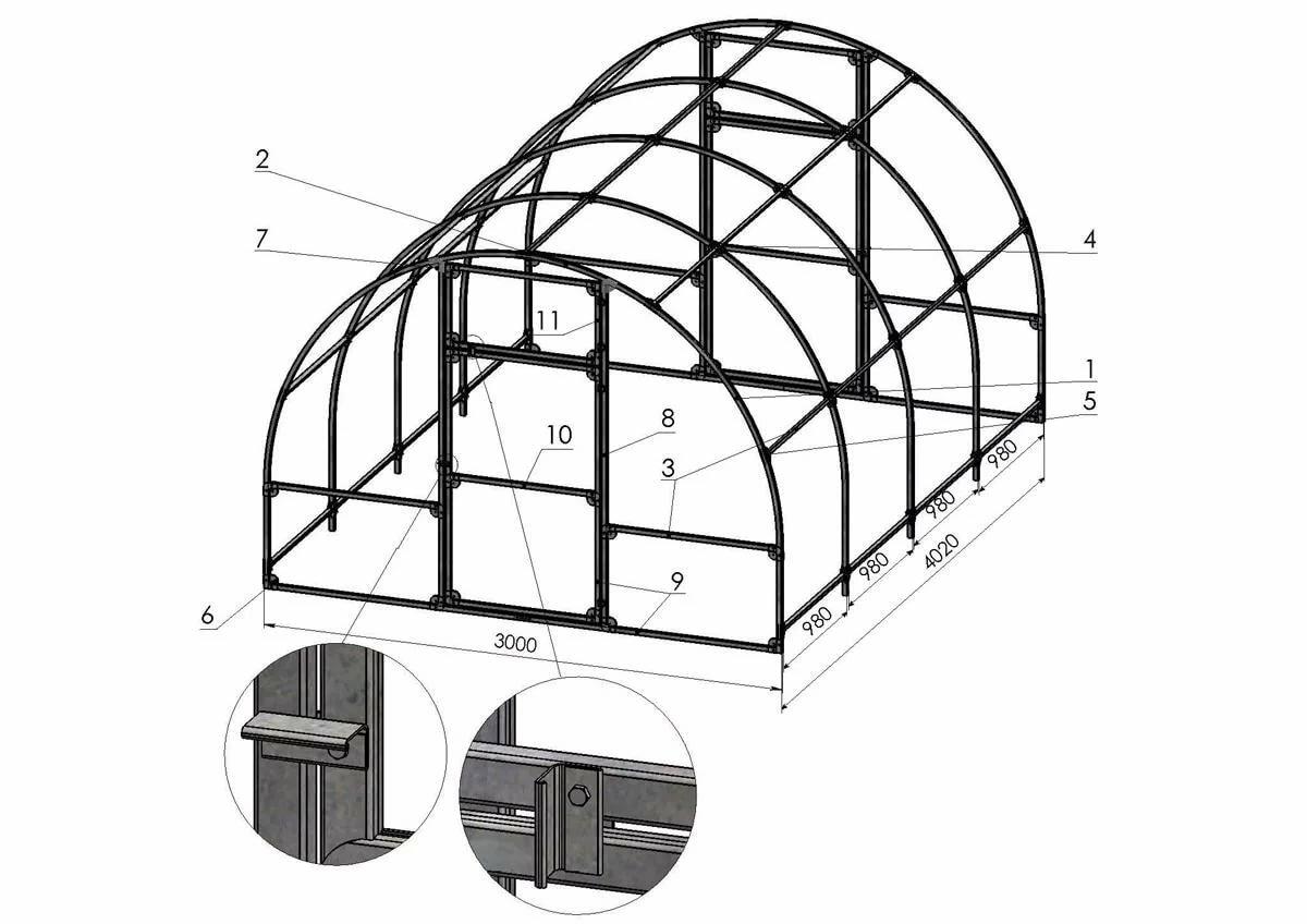 Размеры теплицы из поликарбоната, чертеж