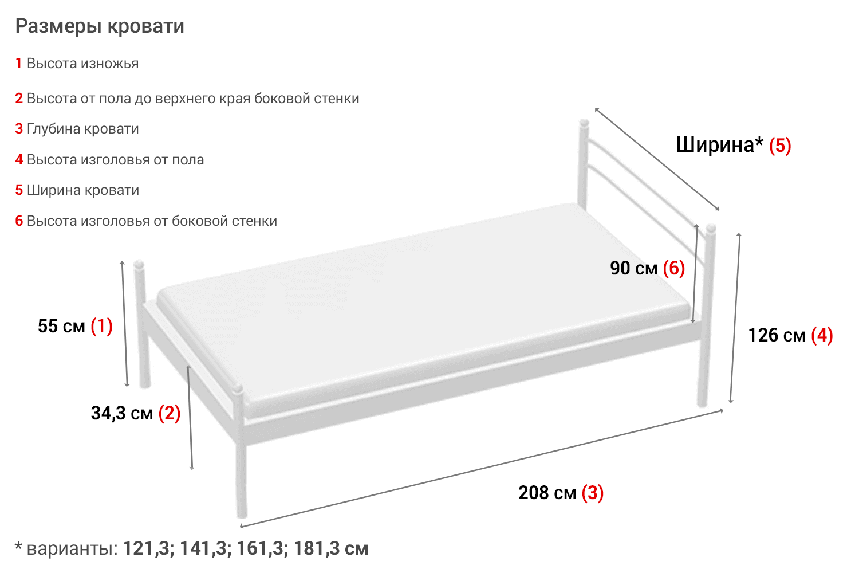 3 варианта размеров 2-х спальной кровати