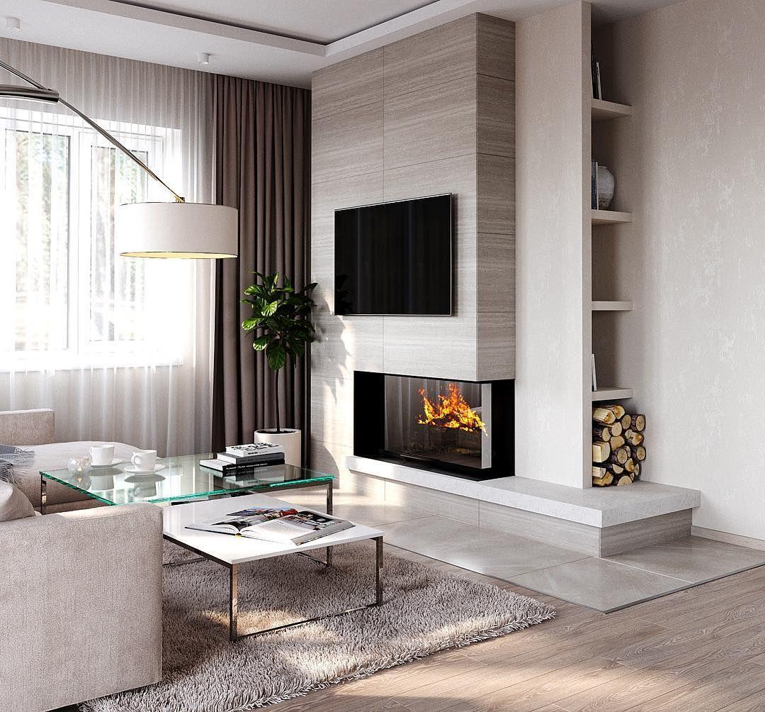 Гостиная с камином: 110 фото стильных решений дизайна 2019 года