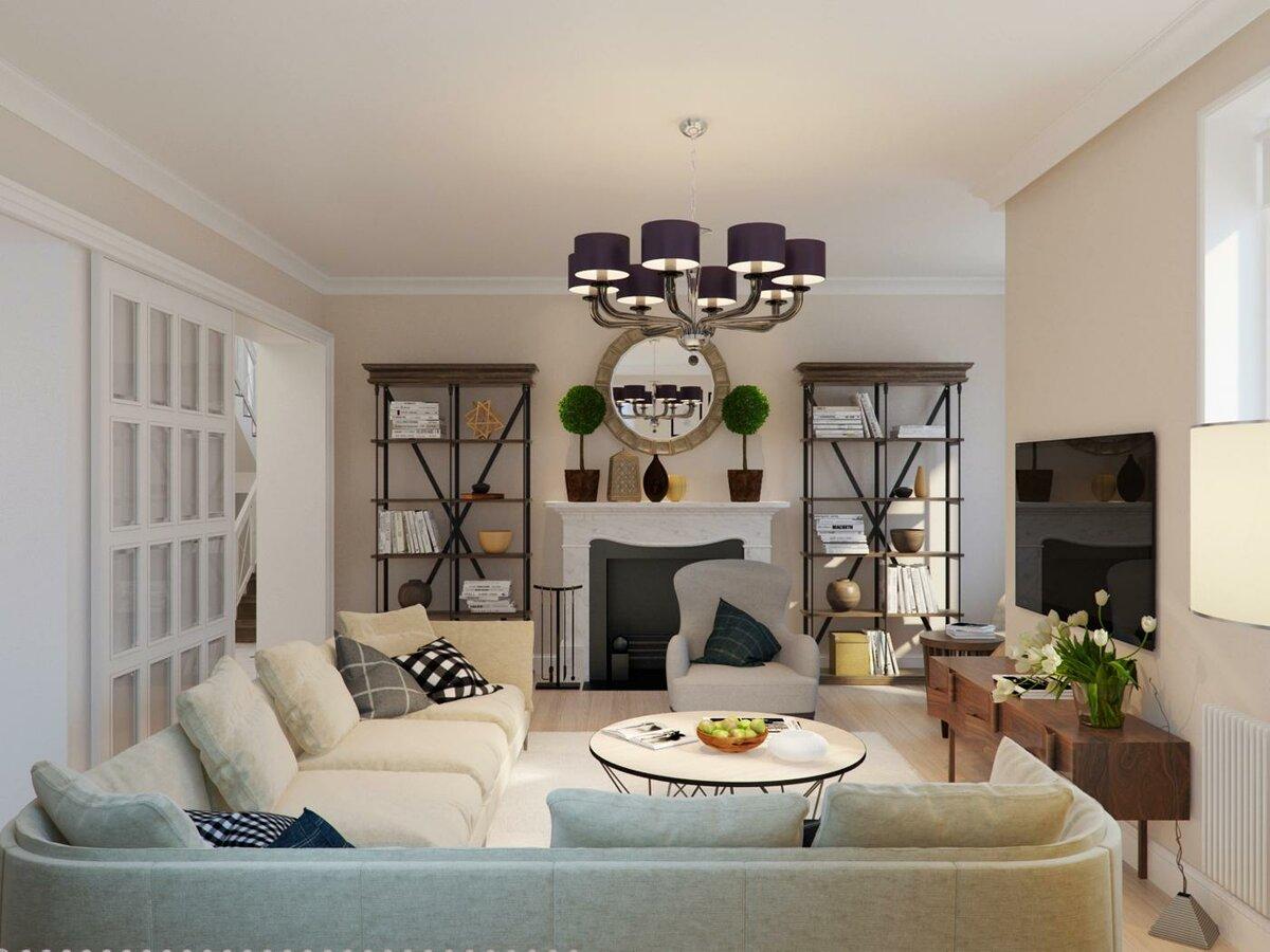 Гостиная в американском стиле: классический дизайн интерьера комнаты, фото