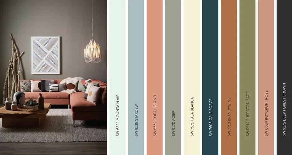 Сочетание цветов в интерьере (202 фото): таблицы и раскладки с палитрой для дизайнеров. как сочетаются цветовые гаммы пола и потолка, стен и мебели?