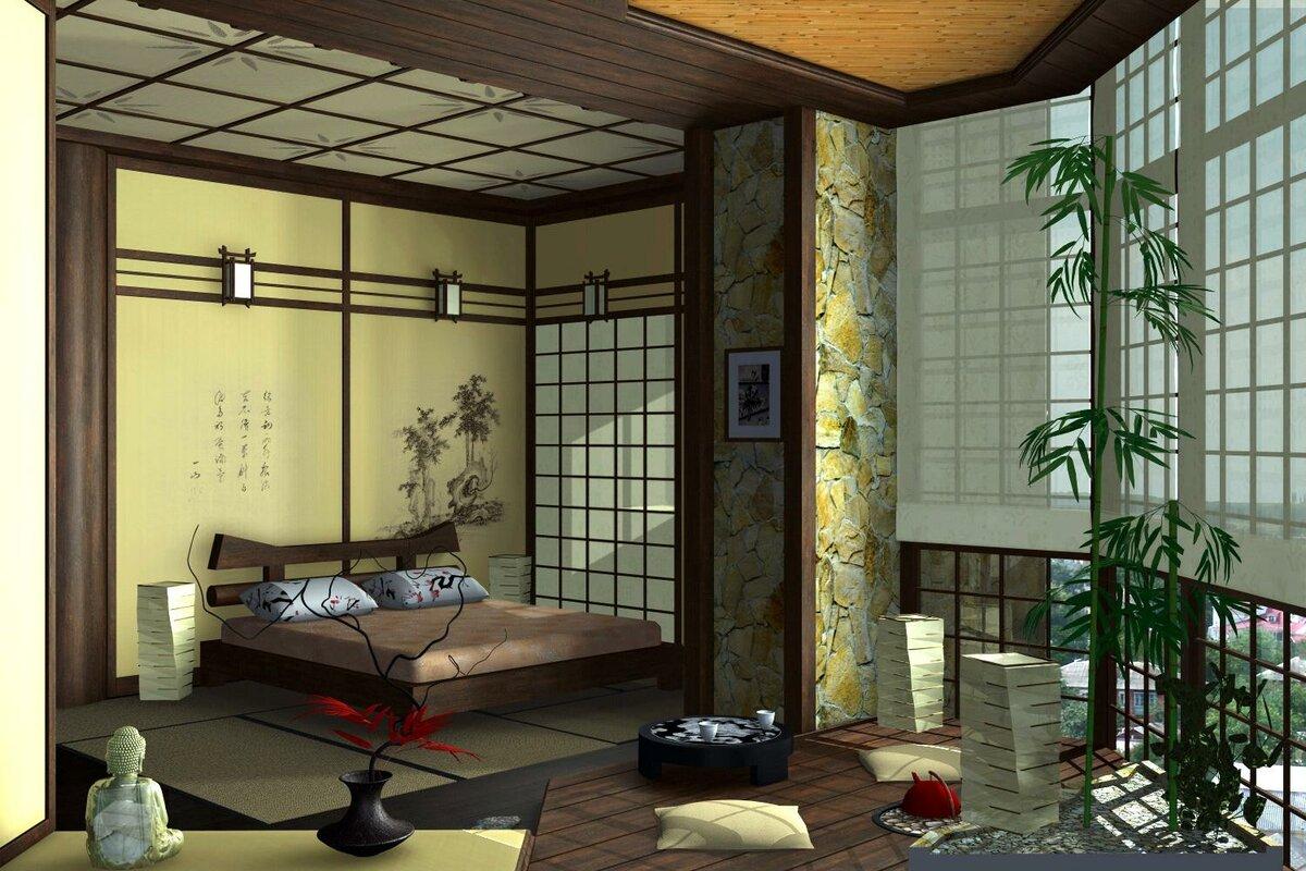 Оформление комнаты вяпонском стиле— красота вмелочах на50 фото