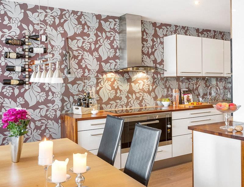 Обои на кухню современные: фото 2020, классический или модный интерьер