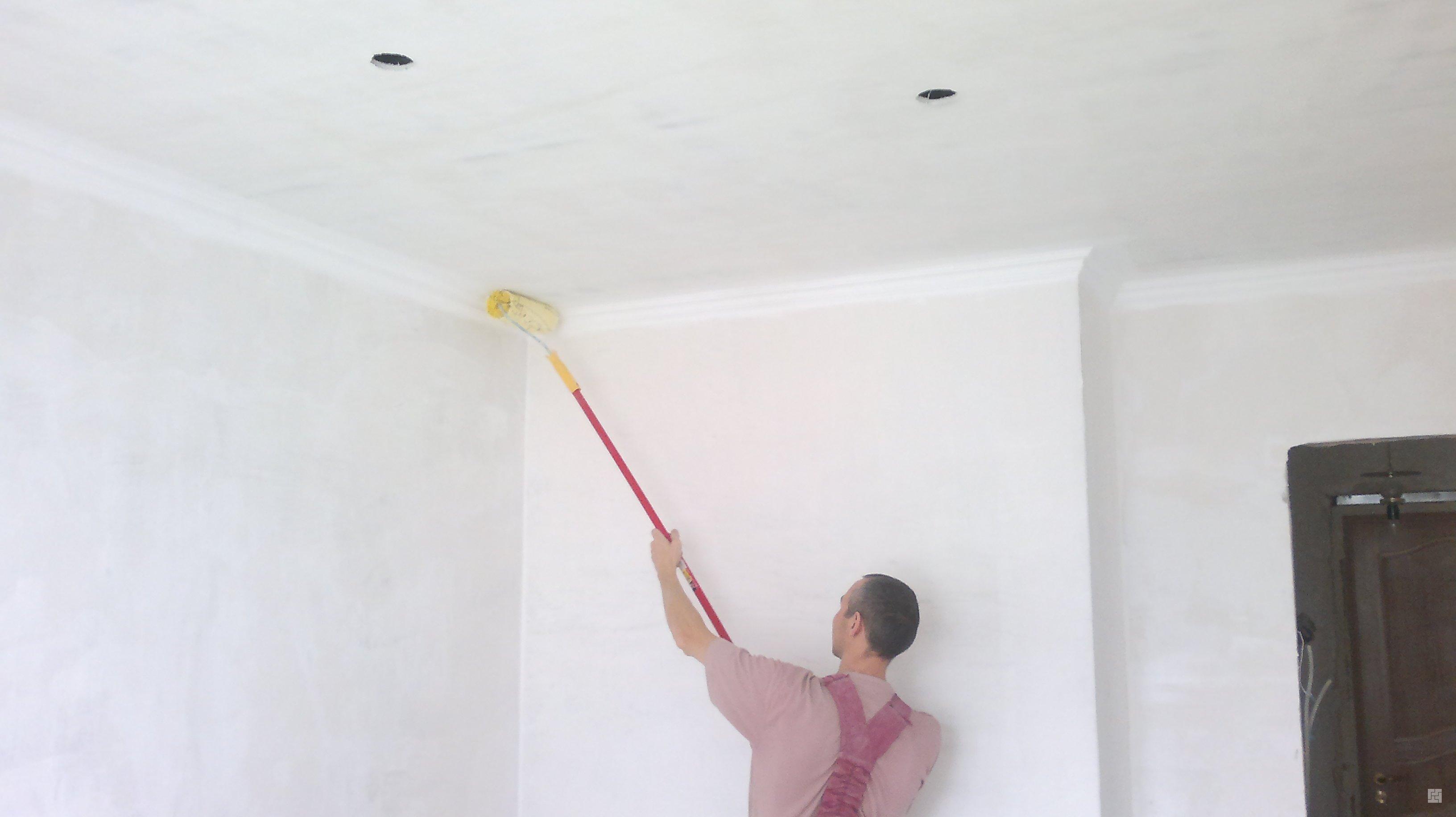 Побелка потолка водоэмульсионной краской своими руками – инструкция и пошаговое руководство
