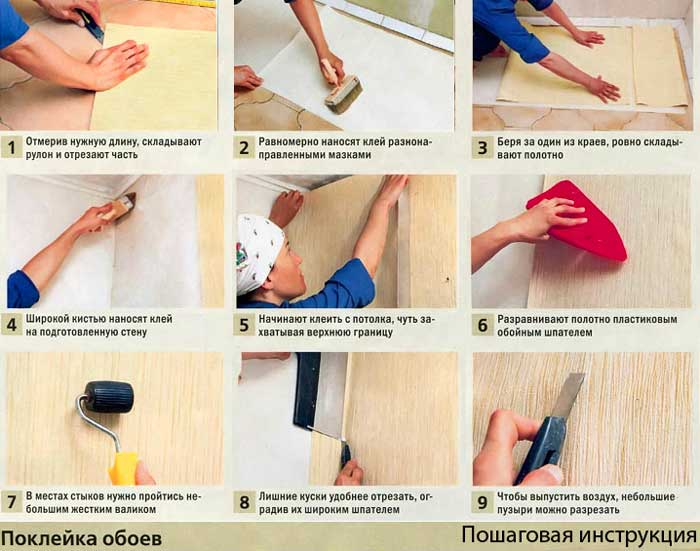 Клеим обои своими руками. полная инструкция (подготовка, выбор обоев и клея, маленькие хитрости)