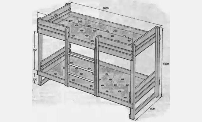Детская двухъярусная кровать своими руками: чертежи, видеоинструкция по сборке