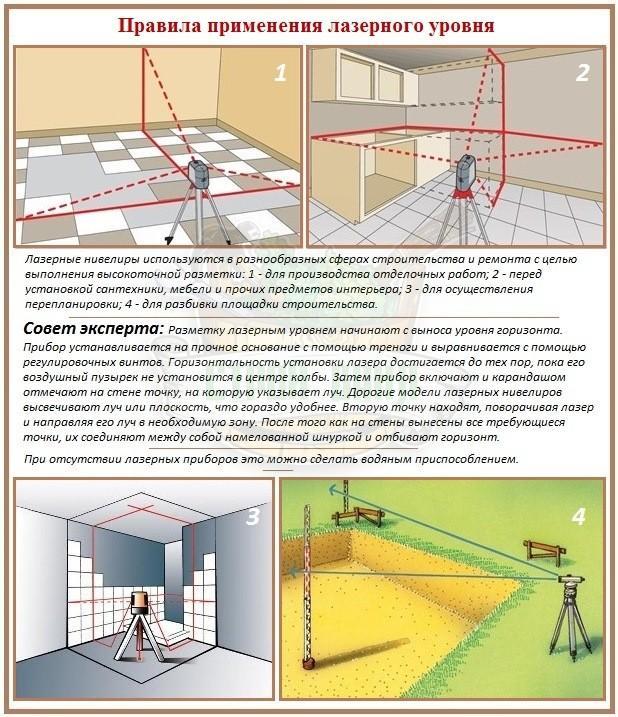 Правила пользования лазерным нивелиром