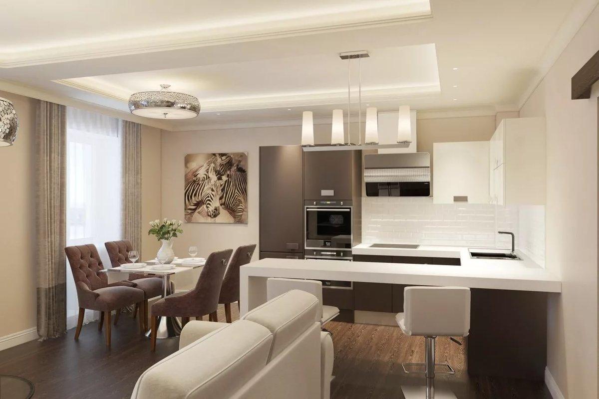 Дизайн кухни, совмещенной с гостиной (90 фото)