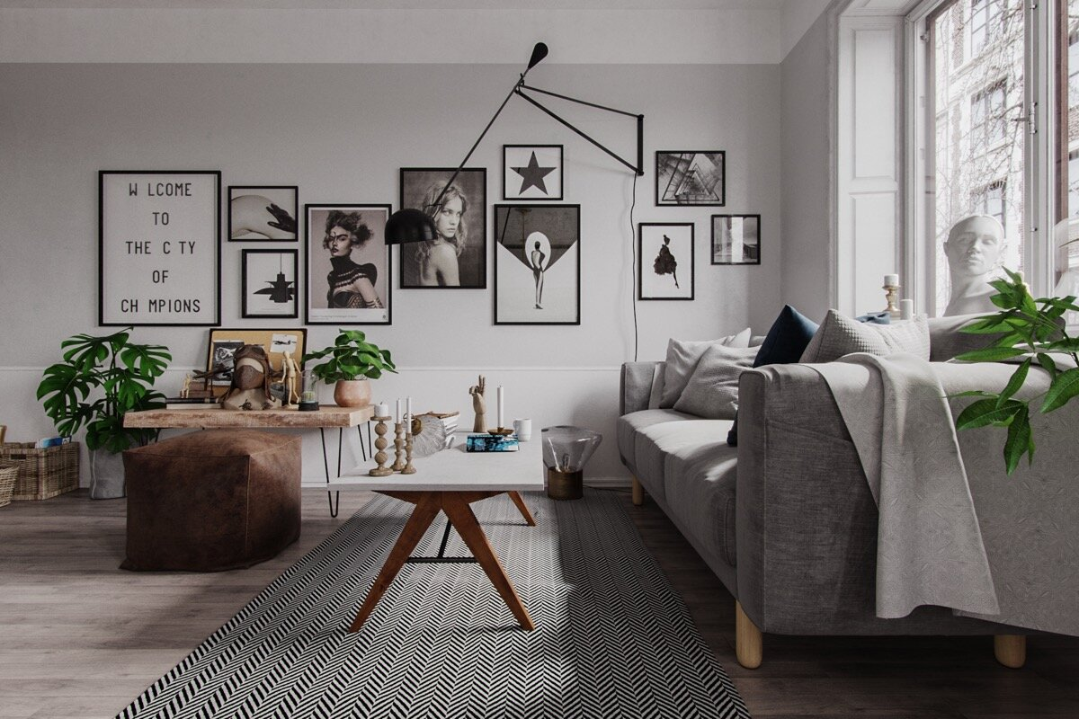 Гостиная в скандинавском стиле - практично и изысканно