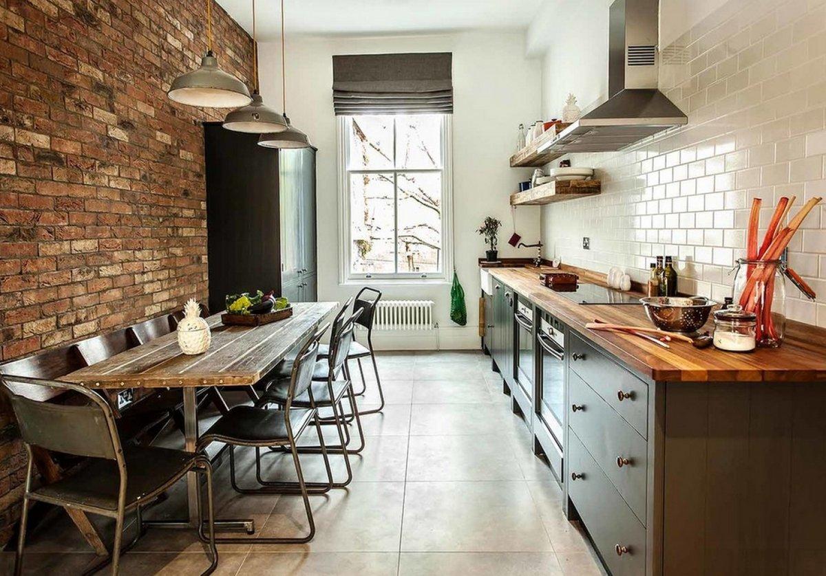 Кирпичные стены в интерьере кухни - правила декорирования и креативные фото идеи