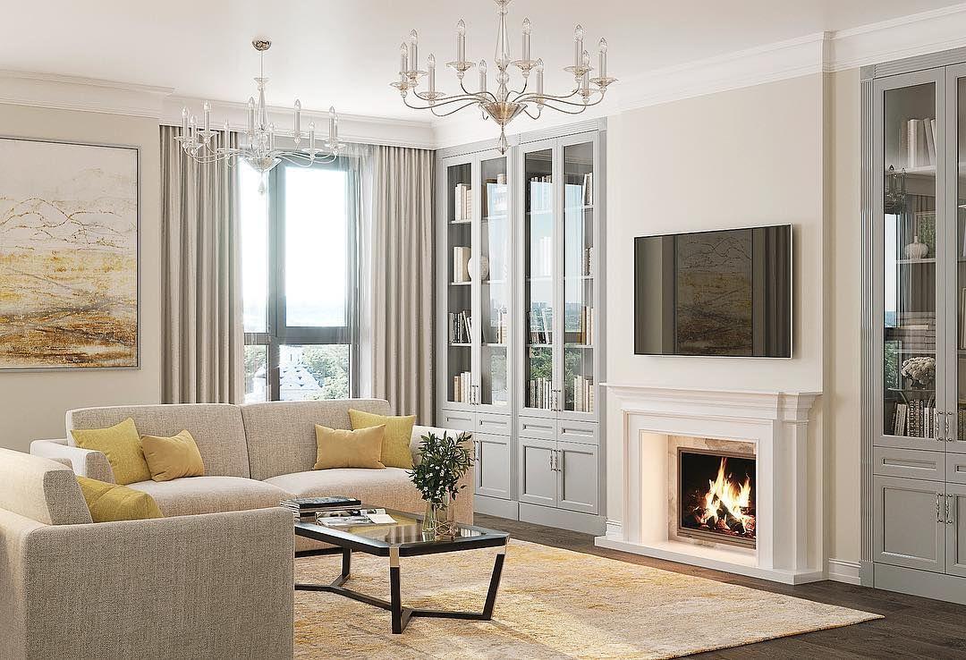 Как оформить интерьер гостиной с камином: советы + 70 примеров с фото