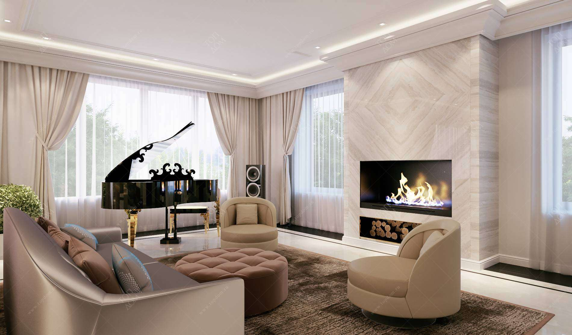 Интерьер гостиной с камином - виды, особенности, интересные фото идеи