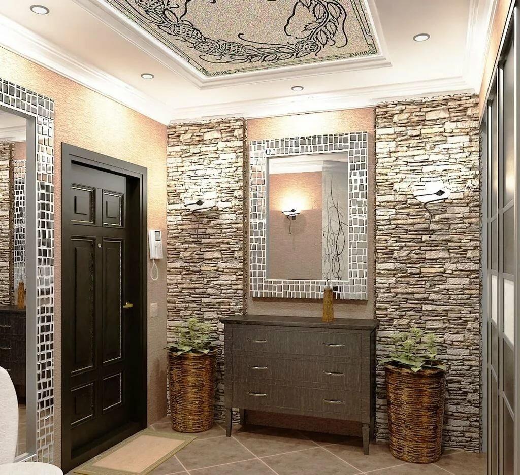 Отделка кухонь обоями и декоративным камнем (40 фото): обои с рисунком для стен кухни