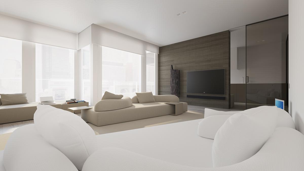 Интерьер зала в стиле минимализм + фото