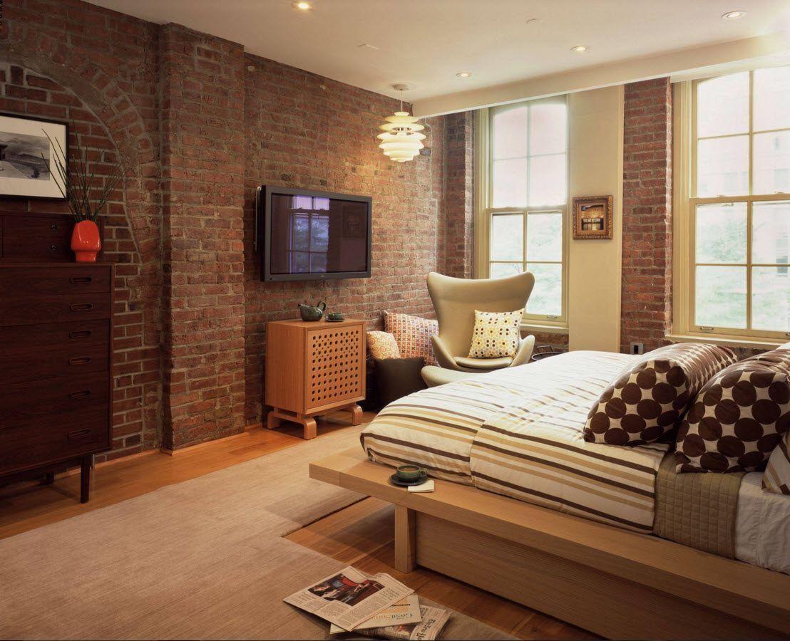 Кирпич в интерьере спальни - идеи для оформления