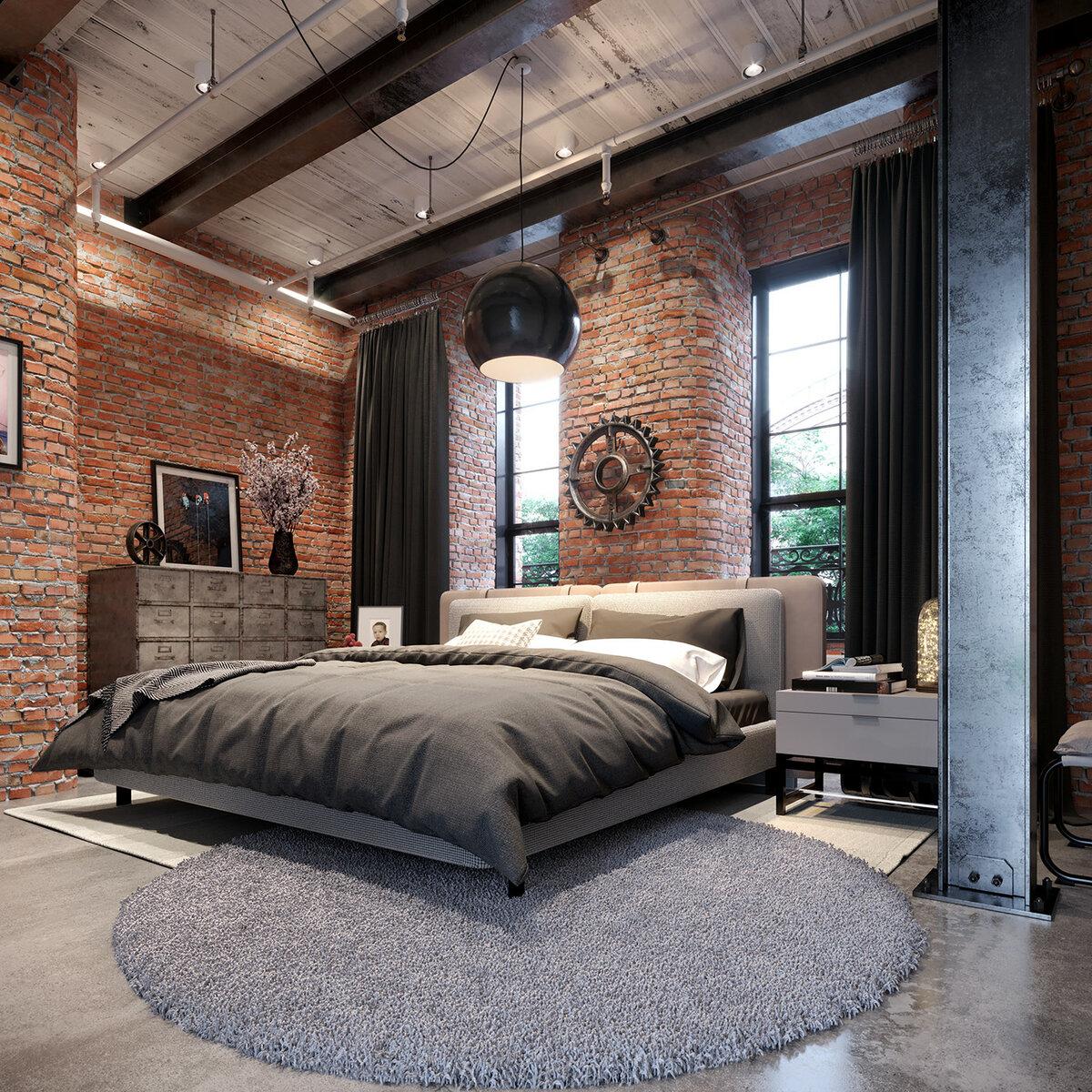 Спальня в стиле лофт — 105 фото идей декора и интересные варианты создания современного красивого интерьера и дизайна