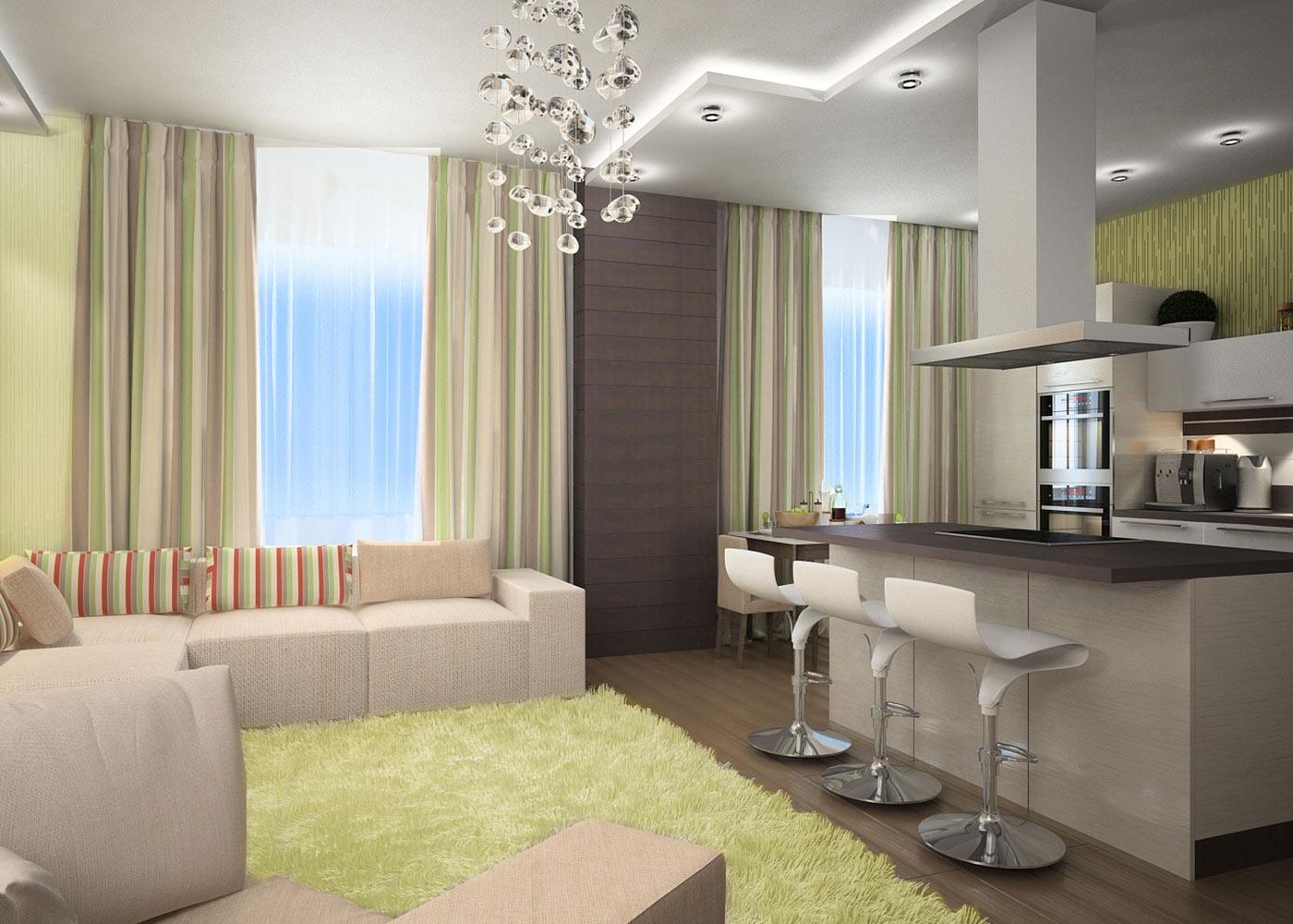 Дизайн кухни гостиной (реальные фото)