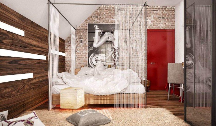 Спальня в стиле лофт — 70 фото дизайна интерьера спальни