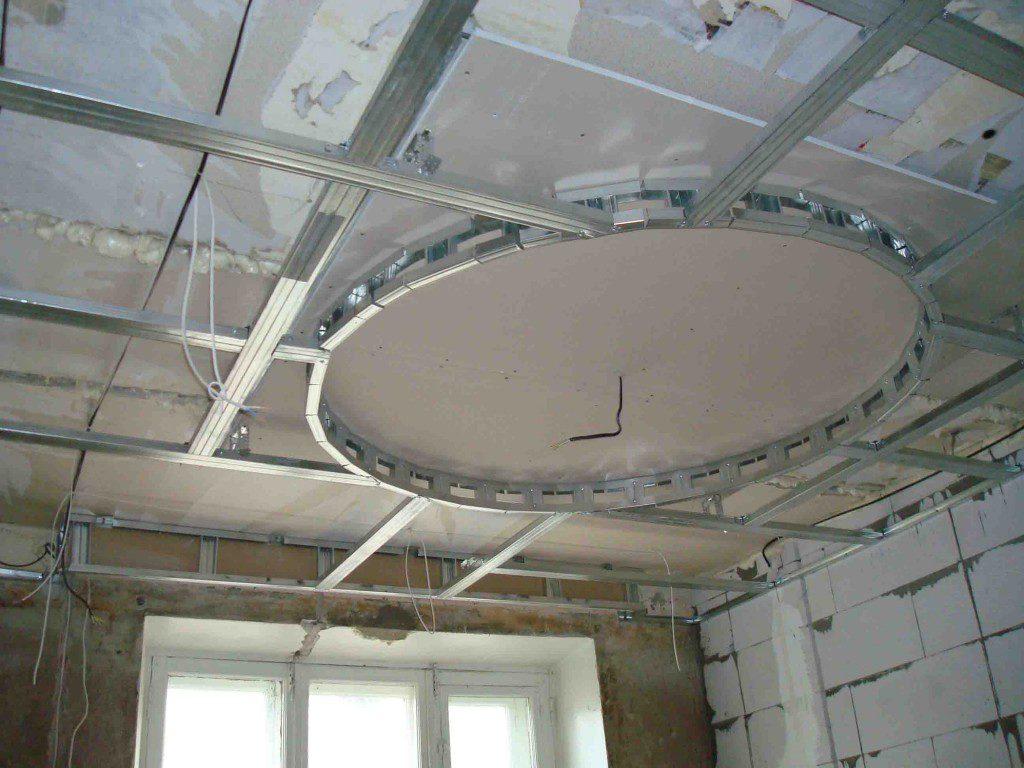 Процесс создания двухуровневого потолка из гипсокартона в подробностях