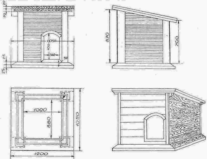 Будка для собаки своими руками: чертежи и размеры, как построить из подручных материалов теплое жилище