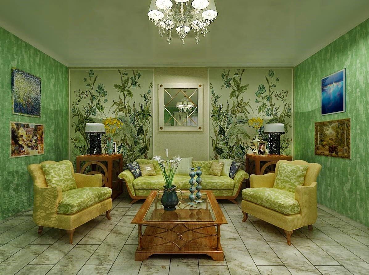 Сочетание зеленого цвета с другими цветами интерьера в разных стилях