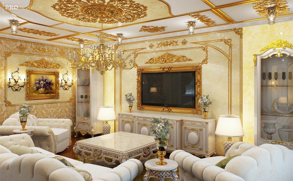 Интерьер гостиной в стиле барокко - фото подборка успешного дизайна