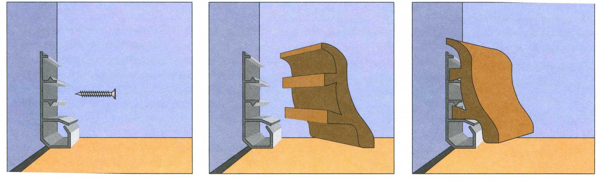Как установить напольный плинтус на клей