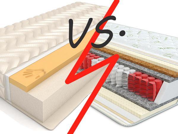 Какой матрас лучше, практичнее: пружинный или беспружинный?