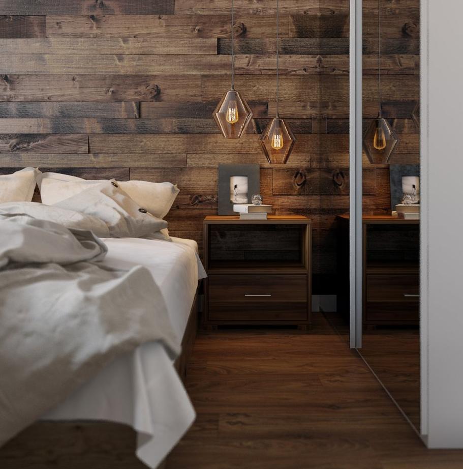 Ламинат в кухонном интерьере для оформления стены