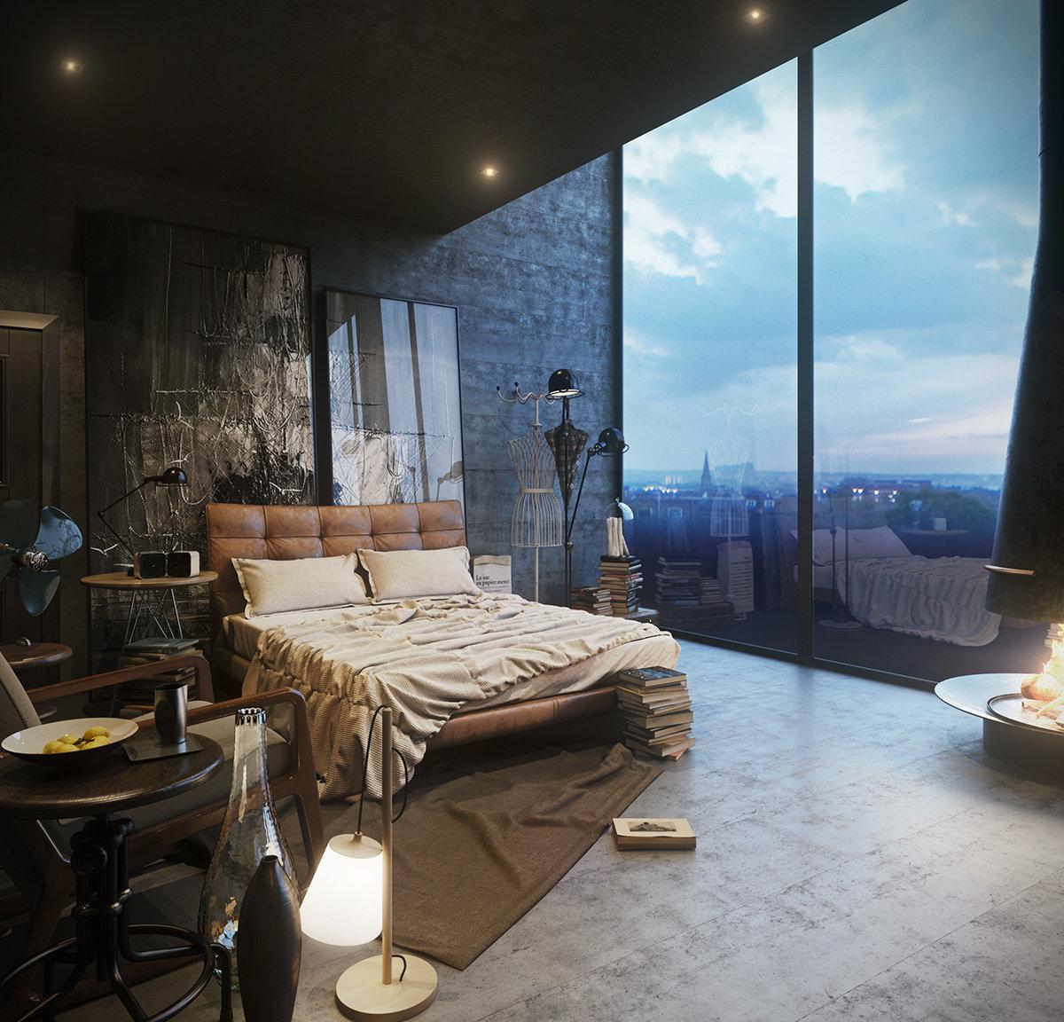 Дизайн спальни в стиле лофт: 75 фото-идей