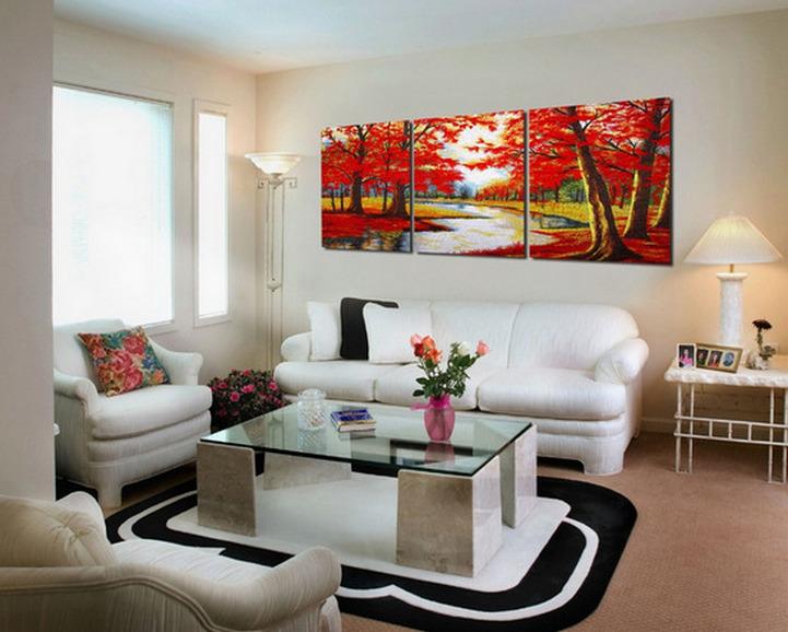 Как подобрать и разместить картину на стене в гостиной