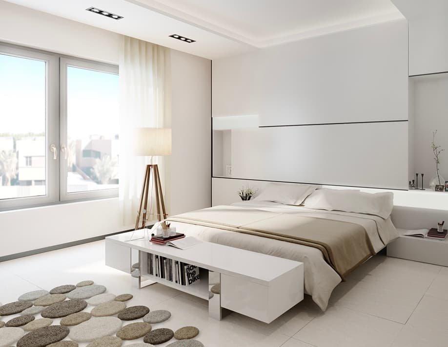 Спальня в стиле минимализм (21 фото): нюансы и красивое сочетание мебели, штор и декора