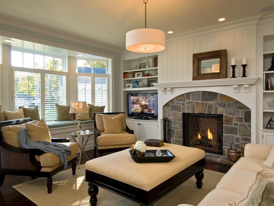 Дизайн гостиной с камином: виды, расположение, стили - 75 фото