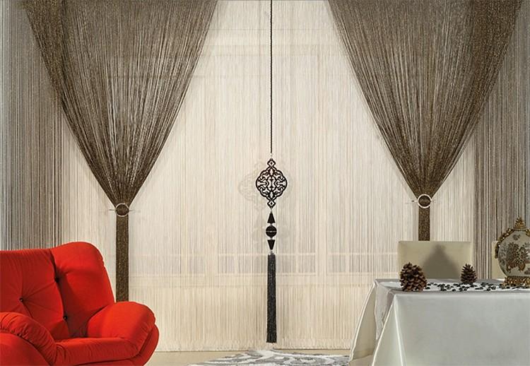 Нитяные шторы на кухню - особенности оформления, советы по выбору, фото идеи