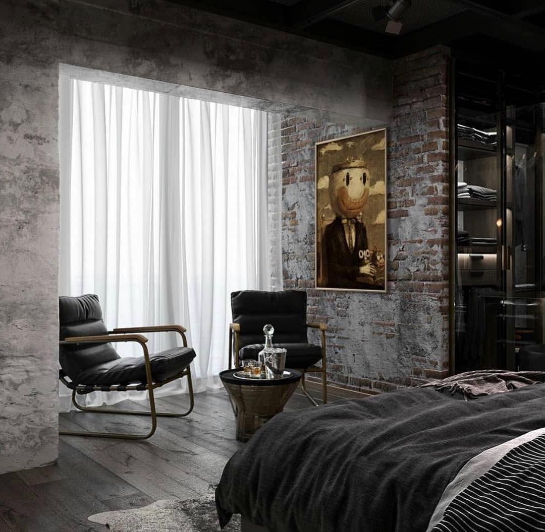Интерьер спальни в стиле лофт - грубая привлекательность и утонченность