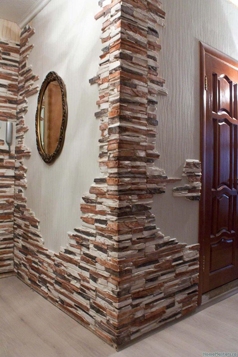 Декоративный камень в отделке кухни: 75 советов в фото