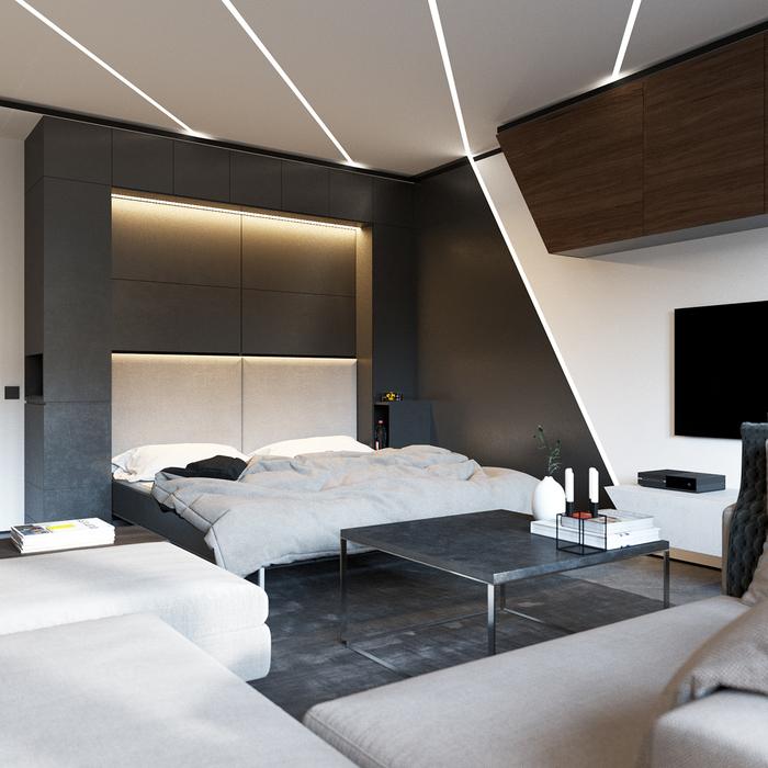 Оригинальная спальня в стиле минимализм, оформляем стены, выбираем аксессуары