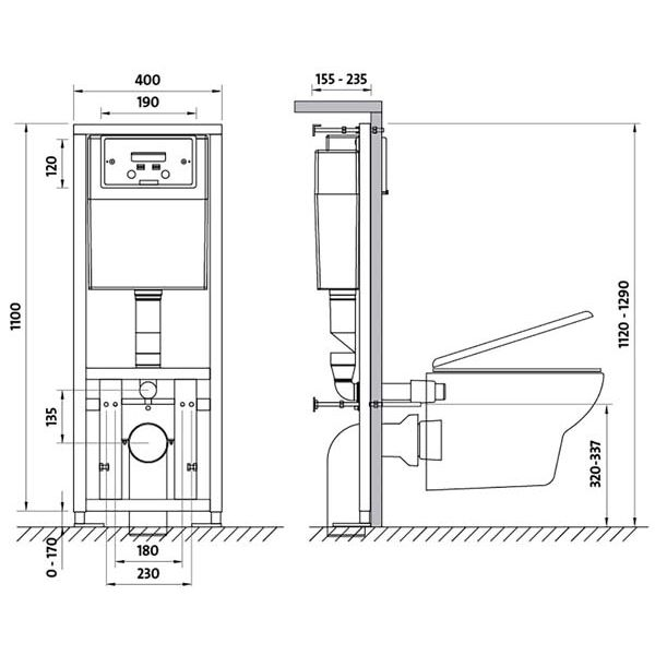 Подвесной унитаз с инсталляцией - установка и размеры