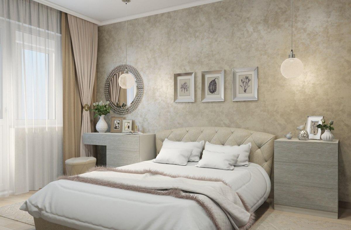 Голубая спальня: дизайн с фото, вариант серо-голубой комнаты с белой мебелью