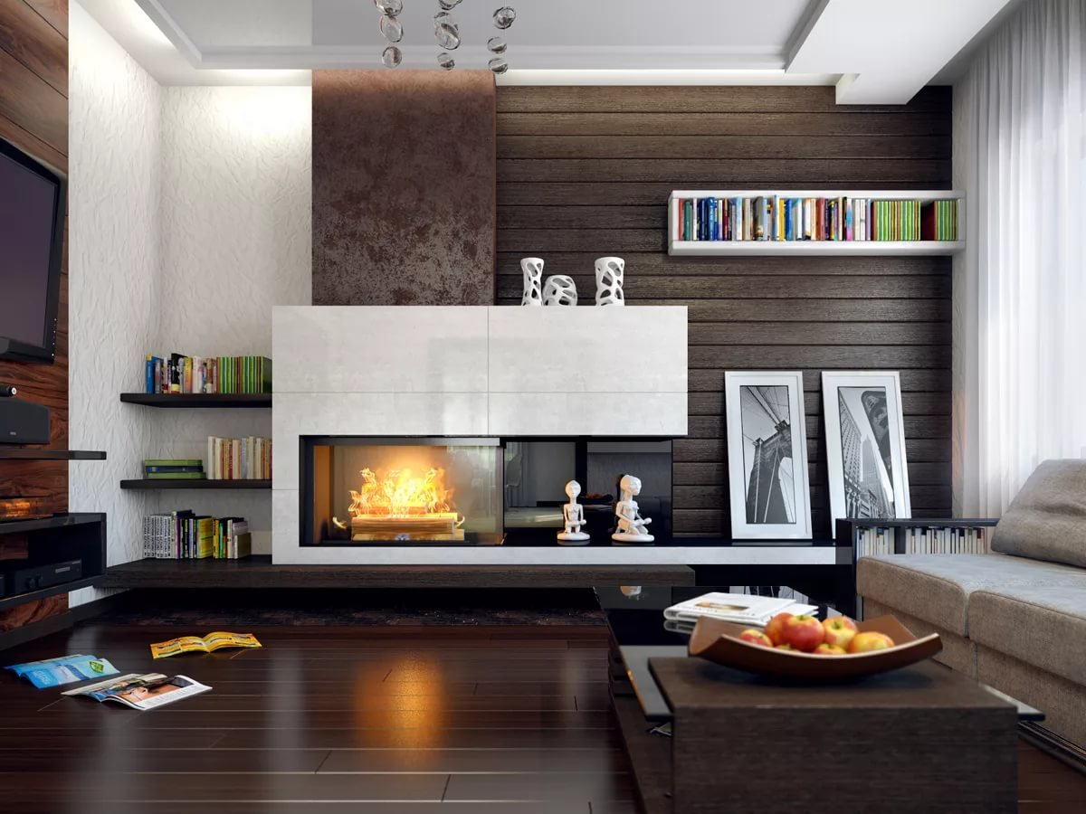 Современные камины в интерьере гостиной: разновидности и фото